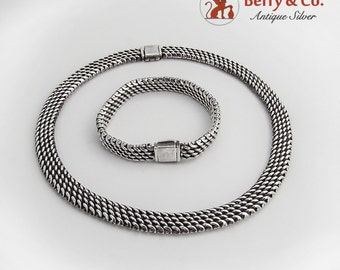 Wide Thick Chain Necklace and Bracelet Sterling Silver