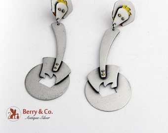 Abstract Industrial Dangle Earrings Sterling Silver Signed