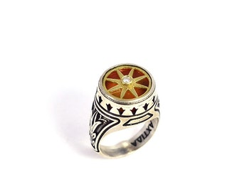 Handmade  Gold Plated Ring Sterling silver ring 8 pointed star, byzantine design