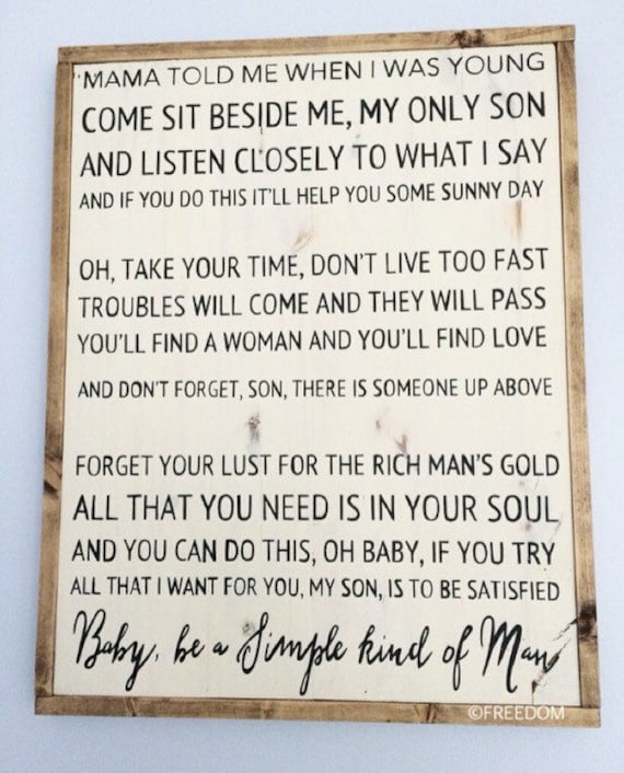 Simple Man Lyrics Signfarmhousehandpainted By Freedomdesignsco