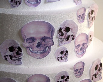 Edible Skulls Cake Decorations, Realistic Edible Skulls, Set of 24 DIY Cake Decor, Edible Cake Decorations, Halloween Wedding Cake, Party