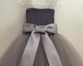 Gray Tulle Flower Girl dress with sewn ribbon straps- Silver / Gray / Grey
