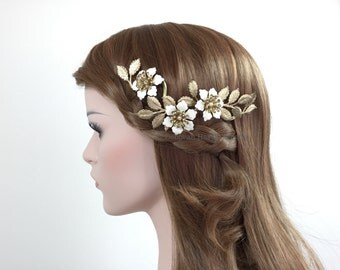 Rose vine headpiece - Romantic Ivory roses flowers leaves Gold Bridal Prom Formal headpiece hair accessory