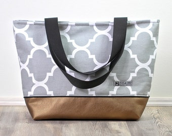 Weekender metallic, grey summer bag, beach bag, shoulder bag, diaper bag, Canvastasche