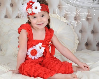 Valentines Jumpsuit/Baby Romper/Baby Girl Romper/Baby Lace Romper/Baby Romper/Red Lace Romper/1st Birthday Outfit/Girl Lace Romper