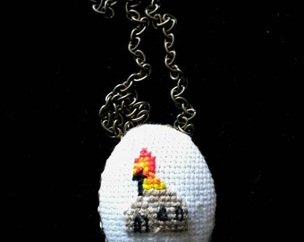 Burned Church X stitch Necklace