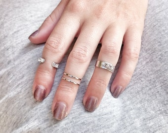 Mini Crystal Midi Ring Set - Silver Midi Rings - Stacking Rings - Above The Knuckle - Cuff Midi Rings - RS06-S