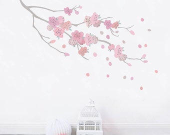 Cherry Blossom Fabric Wall Sticker for Girls Rooms and Baby Nursery