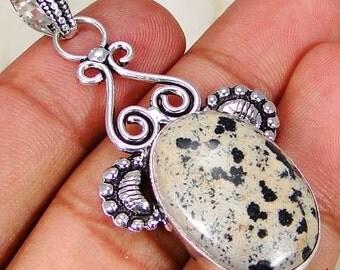 Elegant Dalmation Jasper 925 silver pendant