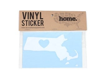 Massachusetts Heart Decal Car or Laptop Sticker by Home State Apparel