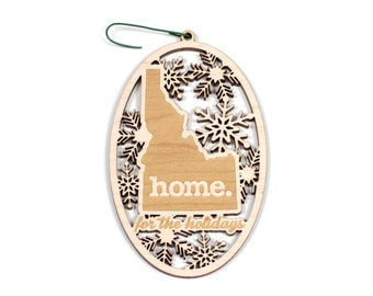 Engraved Idaho Wood Christmas Ornament