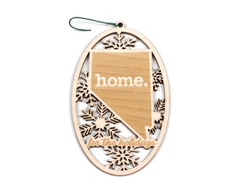 Engraved Nevada Wood Christmas Ornament