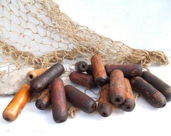 Vintage Wood Fishing Floats~ Great Lakes Nautical Marine Salvage~ Net Buoy, Coastal Bowl Filler /0580