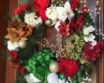 Farmhouse Magnolia Christmas Wreath, Front Door Wreath, Christmas Wreath for Front Door, Etsy Holiday Wreath, Elegant Magnolia Wreath,
