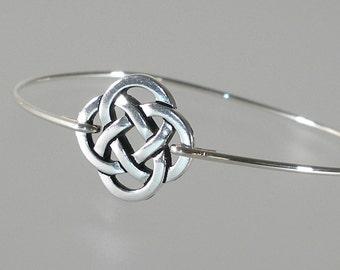 Celtic Knot Bangle Bracelet, Silver Bangle Bracelet, Silver Bracelet, Celtic Jewelry (280S)