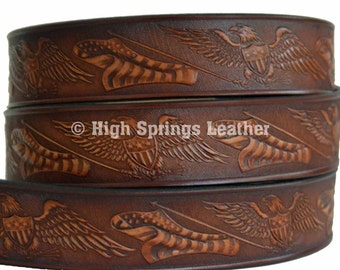 Eagle with American Flag Leather Name Belt
