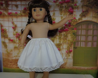 7 Inch-Off White- Cotton 1/2 Slip for an 18 Inch Doll American Girl-Shown on my American Girl Doll