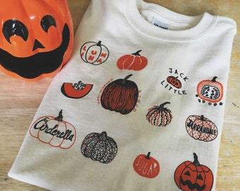 Pumpkin T-Shirt, Halloween Shirt, Screen print shirt, Foodie Gift, Clothing Gift