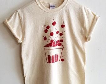 Cherry Screen Printed T Shirt, Fruit Print