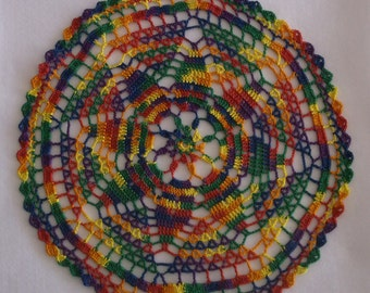 Crochet Doily in Fiesta Colors