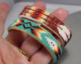 Native American Cuff Bracelets With Multi Color Seeded Bead Cuff Bracelets Beadwork And Leather