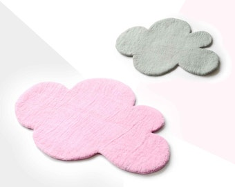 Cloud Rugs, PINK & GREY Rugs, Felted Rug, Nursery Rug, Felt Rug, Kids Room Rug, Kids Decor, Children decor