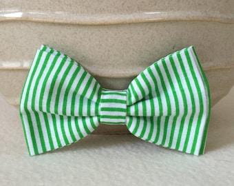 Dog Bow / Bow Tie - Green White Striped