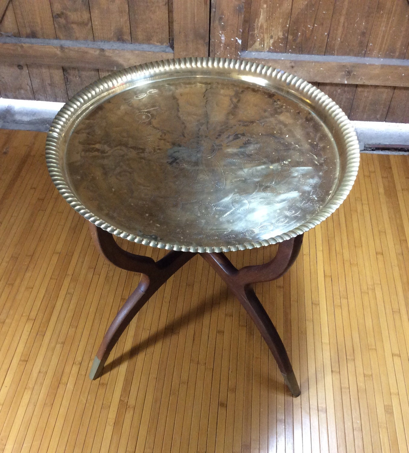Vintage Brass Coffee Table Spider Leg Base Mid Century Folding