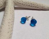 Bright blue sea glass stud earrings