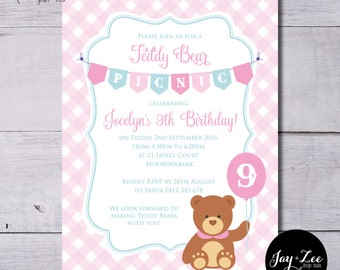 Girls Pink Teddy Bear Picnic Birthday Invitation