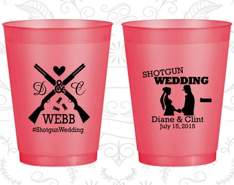 Shotgun Wedding, Custom Frosted Cups, Country, Southern Wedding, Redneck, Red Frosted Cups (562)