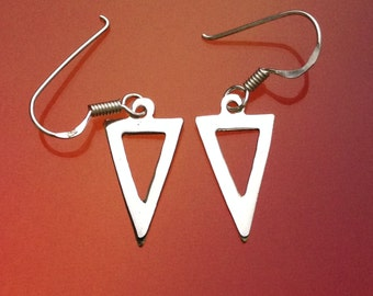 925 Solid Sterling Silver Triangle  Earrings /Hook/Dangling/Polished/Tri-angle Earrings