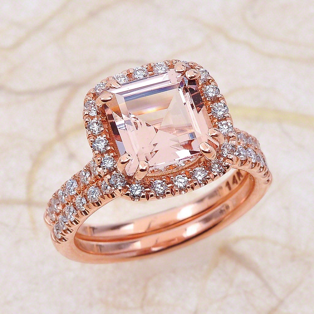 etsy wedding rings princess cut morganite engagement ring and wedding 3942