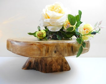 """13"""" Rustic Cake Stand, Wood Cake Stand, Rustic Wedding ,Wedding Cake Stand, Wooden Pedestal, Rustic Wedding Decor, Wooden Stand,"""