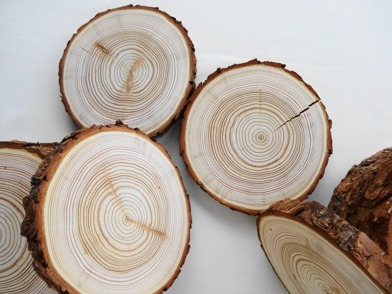 6.5 Wood Slices, Bark Wood, Wood Slabs, Tree Trunk Slices, Wedding ...