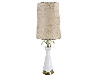 1950s Atomic Glass Lamp & Fiberglass Shade - Mid Century Modern