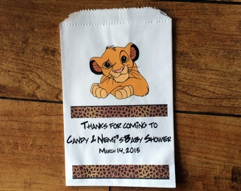 Candy Bags, Lion King Bags, Lion King Party, PERSONALIZED bags, Candy bags, Favor bags 5 x 7 1/2 inches