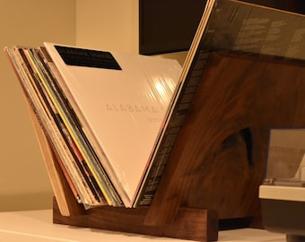 Vinyl record storage table top solid walnut