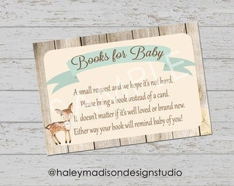Woodland Baby Book Request cards, Woodland Baby Shower Book Cards PRINTABLE FILE HM111
