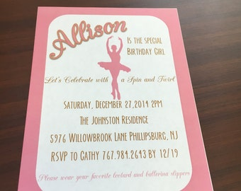 DIGITAL Pink Ballerina Birthday Invite