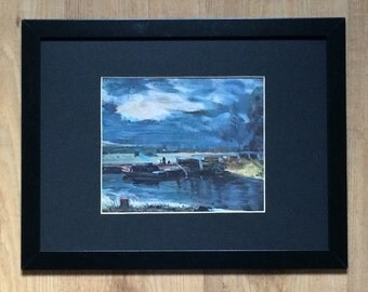 "Framed and Mounted Barges on the Stour Print by John Constable 16"" x 12"""