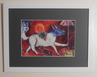 """Mounted and Framed - Cow with Parasol Print by Marc Chagall - 16"""" x 12"""""""
