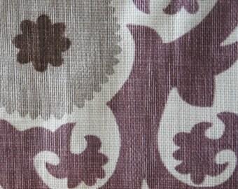 Purple Suzani Home Decor Fabric, 60 inches, Designer Fabric, Basketweave Cotton, Fahri Grape, Upholstery Fabric