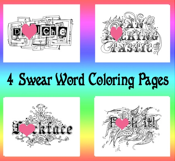 Swear word coloring book pages curse word coloring book