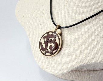 SALE! Polymer Clay Pendant «Om» / «Ohm» / «Aum». Handmade jewelry with sanskrit sign on white base. Yoga Birthday Gift