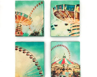 "Carnival Photography, Nursery Wall Art, Mint, Yellow, Chicago Art, Set of 4, Nursery Decor, Ferris Wheel, Carousel, Navy Pier  ""Carnival"""