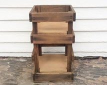 wood crate table ~ rustic wooden crate end table ~ Charles E. Hires Co. ~ industrial water jug crate ~ rustic storage crate end table