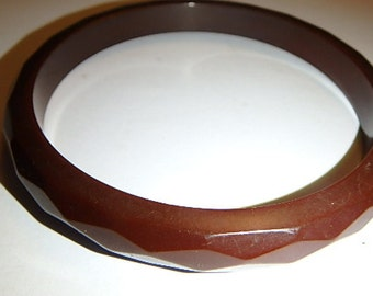 vintage Chocolate Brown Diamond Faceted Classic BAKELITE Bangle Bracelet RARE