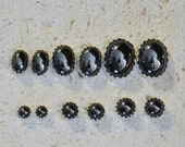 Cabochon Hematite or Hematine Stud Earrings In Sterling Silver - Choose a size!