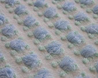 "Vintage Chenille Bedspread Fabric Morgan Jones Blue Rosebud on White...18""x27""...12-6"" Squares...(j39)"